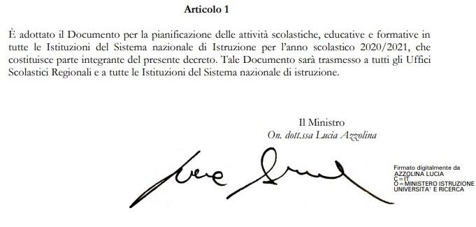 Piano scuola 2020-2021 – Lettera del Ministro On. dott.ssa Lucia Azzolina