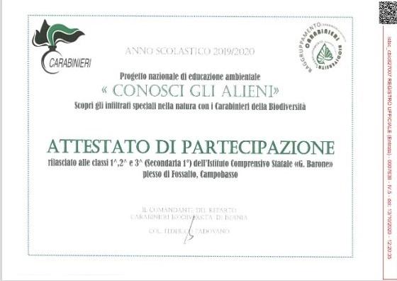 Progetto – Conosci gli alieni – Plesso di Fossalto