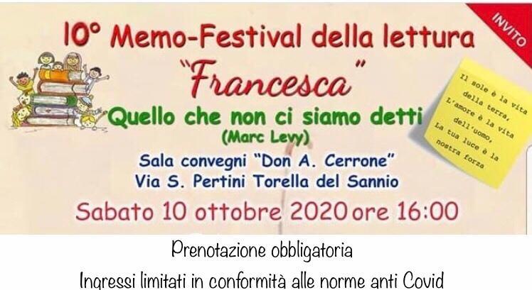 """Modalità di partecipazione alla cerimonia di premiazione del X Memo festival della Lettura """"Francesca"""""""