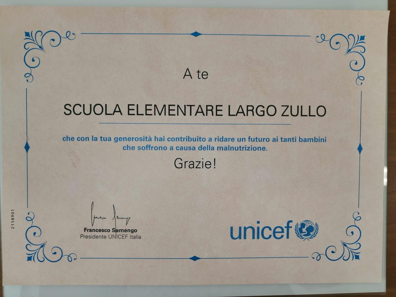 Attestato UNICEF