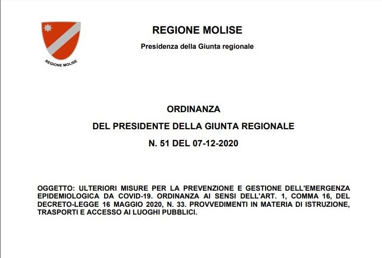 ORDINANZA DEL PRESIDENTE DELLA GIUNTA REGIONALE N. 51 DEL 07-12-2020