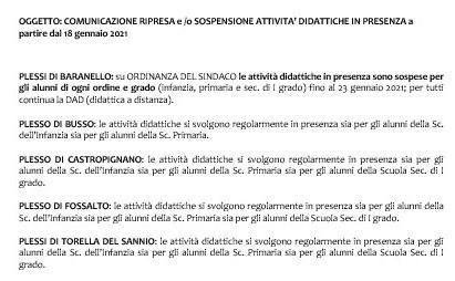 COMUNICAZIONE RIPRESA e /o SOSPENSIONE ATTIVITA' DIDATTICHE IN PRESENZA a partire dal 18 gennaio 2021