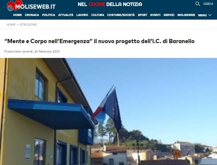 """""""Mente e Corpo nell'Emergenza"""" il nuovo progetto dell'I.C. di Baranello"""