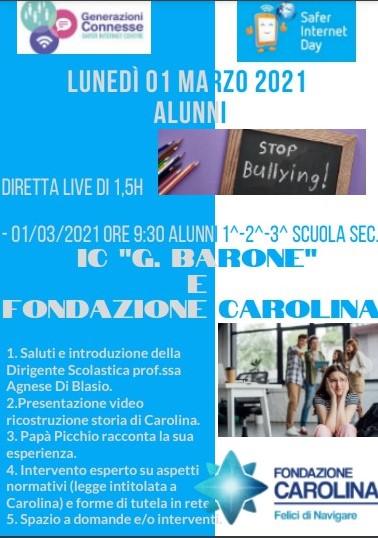 Stop bullying – Fondazione Carolina ne parla gli alunni dell'IC di Baranello